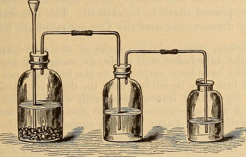 An experimental setup with three beakers, illustration from a book